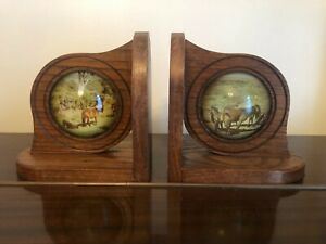 A Pair Of Vintage Wooden Bookendswith Concave Glass inserts Horses