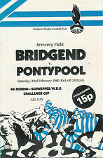 Bridgend v Pontypool - WRU Cup 4th round 23 Feb 1980 Bridgend RUGBY PROGRAMME