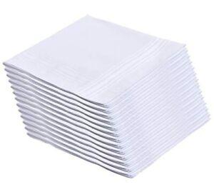 Pack of 12 Mens Handkerchiefs White Plain Hankies Hanky Cotton Hankerchief Cloth