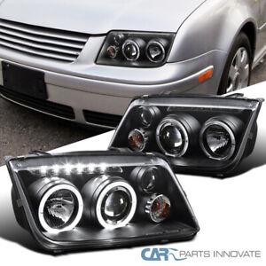 Fit 99-05 Jetta Bora Mk4 LED Halo Projector Headlights Head Lamps Black w/ Fog