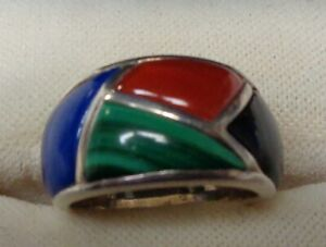NICE STERLING SILVER RING SIZE WITH INLAYS 5 3/4 – #6
