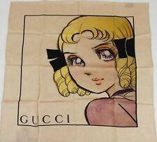 Gucci Beige Silk Square Scarf Manga Girl's Face Print 535086 9278