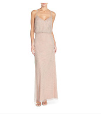 Adrianna Papell Beaded Blouson Gown Silver Nude sz 4  Bridesmaid Prom Mesh $300
