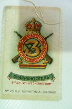 B.D.V. Cigarettes Silk- No 78 G.P. Territorial Badge 3rd (County of London)Yeamy