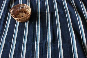 "Vintage African Indigo Hand Woven Cotton Stripe Fabric~Nautical Blues~34"" X 41"""