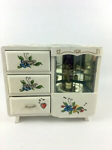 Vintage 1960s Wind Up Musical Jewelry Box Ballerina Magnetic Mirrors