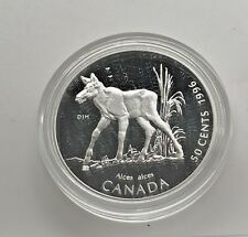 Canada 1996 Baby  Moose Calf  50 Cents Proof  Sterling  Silver  Little Wild Ones
