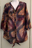 Metro 22 Silky Sheer Graphic Tunic Blouse Top Button Up 3/4 Sleeve Plus Size 1X
