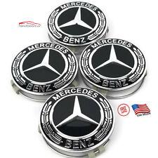 4 Mercedes-Benz Classic Black Wheel Center Hub Caps Emblem 75Mm Laurel Wreath