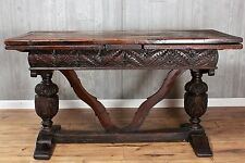 19th Century Antique English Oak Refectory Table 2 Drawer Leaves