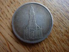 1935F Germany Nazi Swastika Potsdam Church 5 Mark Silver Coin (ref36)