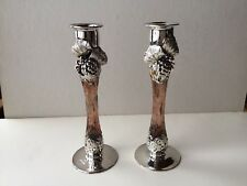 Vintage Decorative Glass Candle Holders With Hand Metal Work Set Of 2