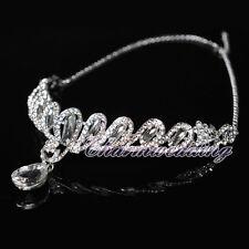 Women Crystal Rhinestone Tiara Wedding Bridal Crown Forehead Jewelry Headpiece