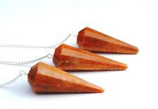 3 Pcs Orange Aventurine Pendulums Reiki Crystal Healing Dowsing Gemstones 738