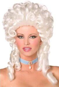 Women's Baroque Queen Royalty Wig Marie Antoinette White Victorian Ringlet Curls