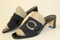 Brighton Womens Size 10 M Titian Leather Fabric Slide Italy Made Heels Shoes 219