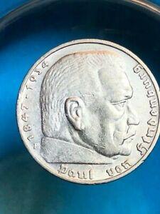 1936 F 5 Mark German WW2 Silver Coin Third Reich  Reichsmark