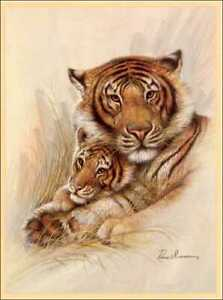 Mother Tiger & Baby Paper Tole 3D Decoupage Craft Kit Size18x24 inches 18-8025