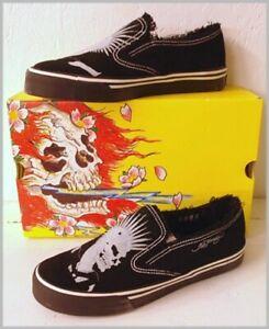 ED HARDY Schuhe Skull PUNK Didecks LEDER black Gr39 NEU
