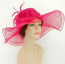 New Church Derby Wedding Sinamay 2 Layers Dress Hat S10-2213 Hot Pink