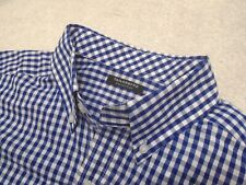 Tailorbyrd Stretch Cotton Navy Blue Gingham Check Sport Shirt NWT Large $99.50