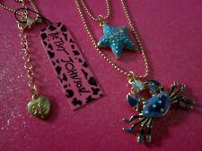Betsey Johnson Blue Crab & Stafish Necklace