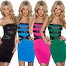 Damen Minikleid Bandeau Etui Kleid Lederoptik S M 34 36 Mode Party Club top sexy