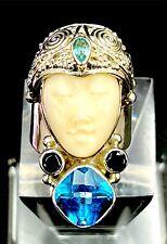 SAJEN 925 STERLING CARVED GODDESS BLUE TOPAZ GARNET APATITE STONE RING ADJ SZ 7