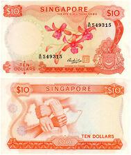 Singapore $10 P#3d (1967-73) Flower Series TDLR UNC