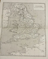 1852 Map of England French Original Antique