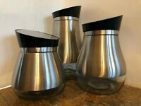 Mid Century Modern Style3 Canister Set Glass Stainless Angled Sliding Lids Mint