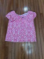 BOBBIE BROOKS Womens Pattern Neon Pink Short Sleeve Top Blouse Size 1X