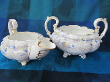 ROYAL STAFFORD, ENGLAND, BLUEBELL TIME PATTERN, CREAMER & SUGAR BOWL - VGC