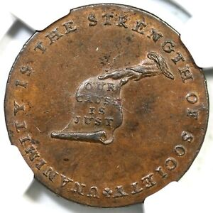(1792) B-1156 W-8810 R-5 NGC MS 63 BN LANCASTER Edge Kentucky Token