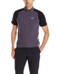 NEW CW-X Men's Endurance Run Vest, Grey, Large Athletic Full Zip 280703 Reflecti