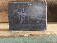Ink Plate Type On Wood Block Old Union Church Almond Arts & Crafts
