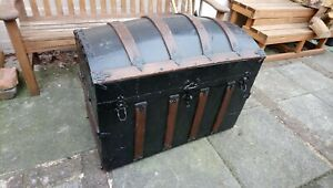 Antique Victorian Domed Steamer Trunk, with postage stamps. Caswell family