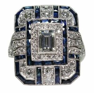 Bague Ring Femme Carré Pierre Saphir Diamants Bleu Modèle 58