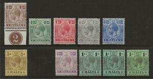 MALTA  SG 69/81d  1914/21 WATERMARK MULTIPLE CROWN CA SET TO 1/-   FRESH MINT