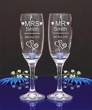 Personnalisé gravé flûte lunettes m. et mme, ensemble de 2/mariage, anniversaire