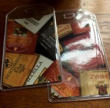 Wine Labels fabric & PVC Luggage Tags PAIR California Italy France Travel Gift