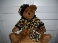 G.A.C. plush Bear with leopard print coat, hat, purse