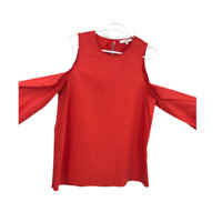 Tibi Womens Size 8 Red Blouse Ladies Cold Shoulder Casual Top