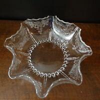 Antique Crystal / Glass Etched Basket Pattern Scalloped Large Bowl Elegant EAPG