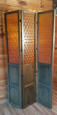 Vtg 1970's Retro Valencia Gold Polystyrene 3 Door Panels Wooden Room Divider