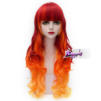 75CM Fashion Red Orange Yellow Mixed Long Curly Lolita Cosplay Wig Halloween+Cap