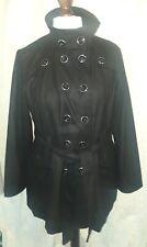 Women's wool blend military button up coat, size XL, Paris Blues