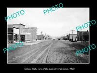 OLD LARGE HISTORIC PHOTO OF MYTON UTAH, THE MAIN STREET & STORES c1910