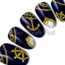 Nail Art Water Transfers Decals Nautical Watch Anchor Wheel Rope Chain K069