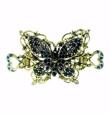 VINTAGE BUTTERFLY HAIR CLAW CLIP HAIRPIN USE SWAROVSKI CRYSTAL GOLD BLACK